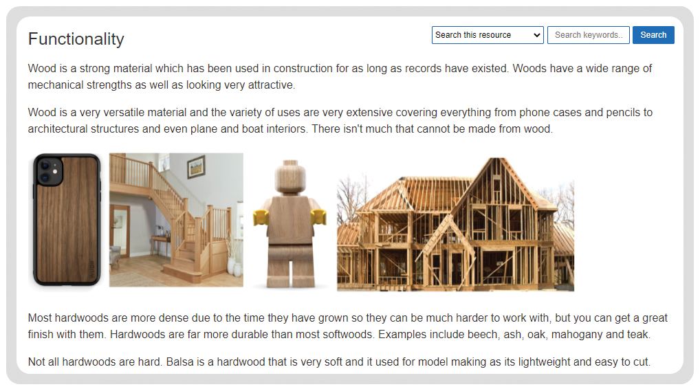 timber based materials - functionality