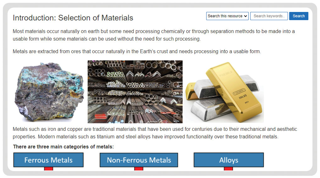metal based materials selection of materials