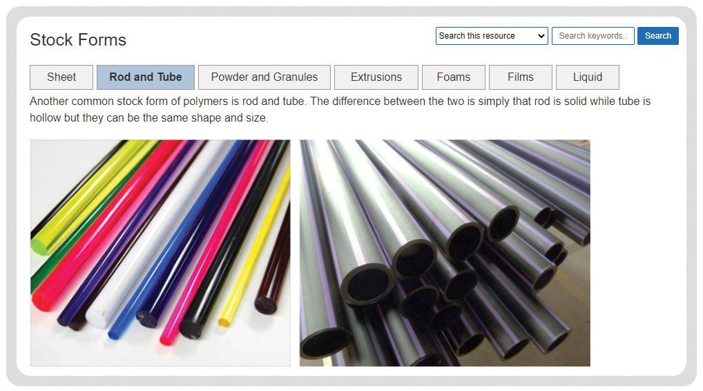 polymer materials stock forms